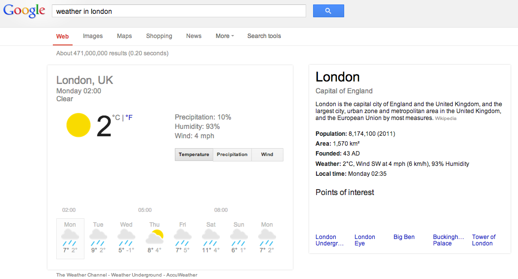 semantic search london weather