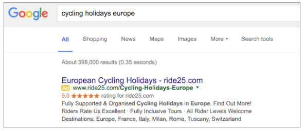generic google search ads in the travel customer journey